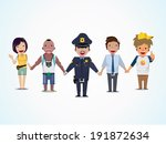 police and people are holding... | Shutterstock .eps vector #191872634