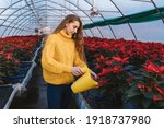 Woman In Greenhouse With Yellow ...
