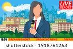 news announcer in the studio.... | Shutterstock .eps vector #1918761263