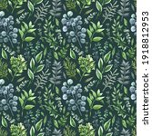 green seamless pattern with... | Shutterstock . vector #1918812953