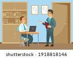 male characters talking... | Shutterstock .eps vector #1918818146