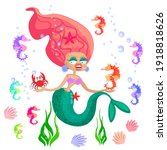 Mermaid Surrounded By Seahorses ...