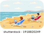 recreation near sea vector... | Shutterstock .eps vector #1918820249