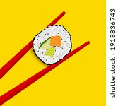 Chopsticks holding sushi roll. Wooden chopsticks and sushi roll on yellow background. Vector illustration.