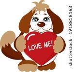 cute cartoon dog holding a red... | Shutterstock .eps vector #1918858163