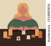 fortune teller woman guessing...   Shutterstock .eps vector #1918885856