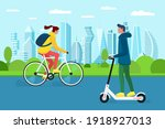 millennial girl and boy riding... | Shutterstock .eps vector #1918927013