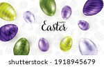 happy easter  easter eggs... | Shutterstock .eps vector #1918945679