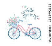 Hello Spring Card. Bicycle With ...