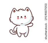 Cute Funny Cat. Vector Flat...