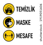 "temizlik maske mesafe  ""hygiene ... | Shutterstock .eps vector #1919051606"