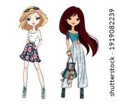 vector beautiful fashion girls... | Shutterstock .eps vector #1919082239