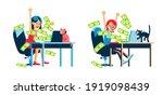 online money winning woman....   Shutterstock .eps vector #1919098439