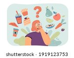 woman thinking over healthy and ...   Shutterstock .eps vector #1919123753