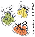 string bags with fruits. hand...   Shutterstock .eps vector #1919127143