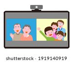 a family who talks online at... | Shutterstock .eps vector #1919140919