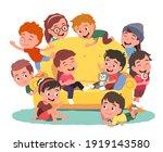 happy boys  girls kids group... | Shutterstock .eps vector #1919143580