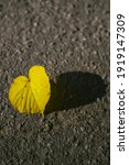 Yellow Autumn Leaf Heart Shaped ...