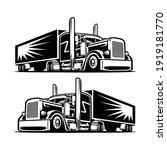 semi truck trailer front side...   Shutterstock .eps vector #1919181770