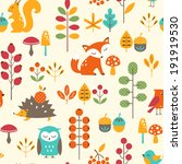 seamless autumn pattern with... | Shutterstock .eps vector #191919530