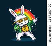 the easter bunny dabbing in his ... | Shutterstock .eps vector #1919207420