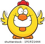 Cartoon illustration of a grinning yellow chicken.  - stock vector