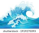 big blue ocean wave flat vector ... | Shutterstock .eps vector #1919270393