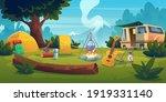 summer camp with bonfire  tent  ... | Shutterstock .eps vector #1919331140
