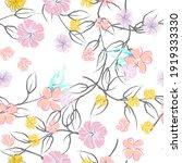 pink flowers blooming pattern.... | Shutterstock .eps vector #1919333330