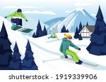 people skiing and snowboarding... | Shutterstock .eps vector #1919339906