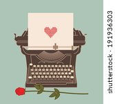 old typewriter with heart shape ... | Shutterstock .eps vector #191936303