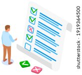 man studying questionnaire.... | Shutterstock .eps vector #1919364500