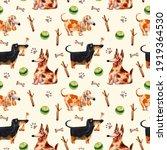 Watercolor Dog Pattern. Pet...