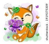 cute orange fox with a bouquet... | Shutterstock .eps vector #1919375309