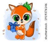adorable orange fox with cute... | Shutterstock .eps vector #1919376146