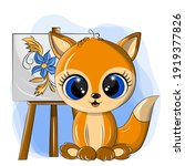 funny fox artist with an easel... | Shutterstock .eps vector #1919377826