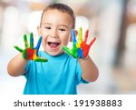 portrait of cute kid playing... | Shutterstock . vector #191938883