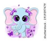 cute elephant with purple eyes. ... | Shutterstock .eps vector #1919397479