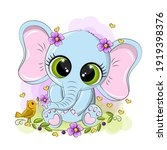 cheerful baby elephant on a... | Shutterstock .eps vector #1919398376