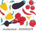vector vegetables set flat... | Shutterstock .eps vector #1919452379