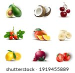 fruits set isolated vector... | Shutterstock .eps vector #1919455889
