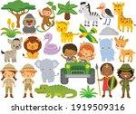 safari animals and kids....   Shutterstock .eps vector #1919509316