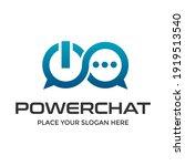 power chat vector logo template.... | Shutterstock .eps vector #1919513540