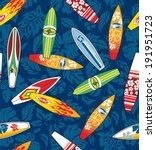 surfboard hibiscus pattern... | Shutterstock .eps vector #191951723
