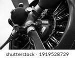 Close Up On A Radial Engine And ...