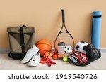 Set Of Sport Equipment On Floor ...