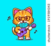 cute cat playing guitar with...   Shutterstock .eps vector #1919584343