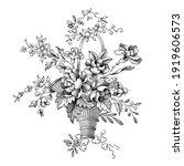 rose peony flowers bouquet... | Shutterstock .eps vector #1919606573