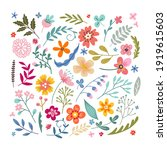set of cute drawn flowers and... | Shutterstock .eps vector #1919615603