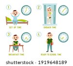 boy morning routine. funny... | Shutterstock .eps vector #1919648189